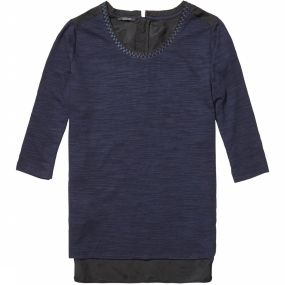 Shirt Feminine Jersey Top Mixed With Woven