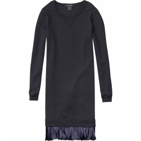 Dress Sweat Dress With Contrast Pleated Woven Hem