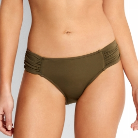 Seafolly Slip Ruched Side Retro voor dames - Kaki
