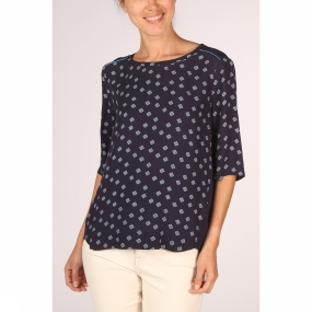 YAYA Blouse Woven Small Check Print voor dames Blauw